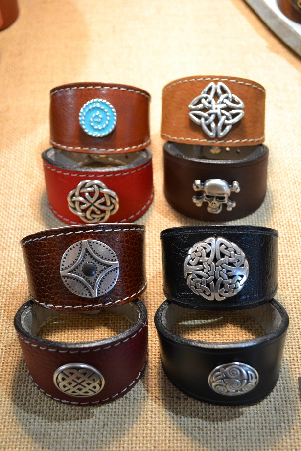 bracelets leather and metal